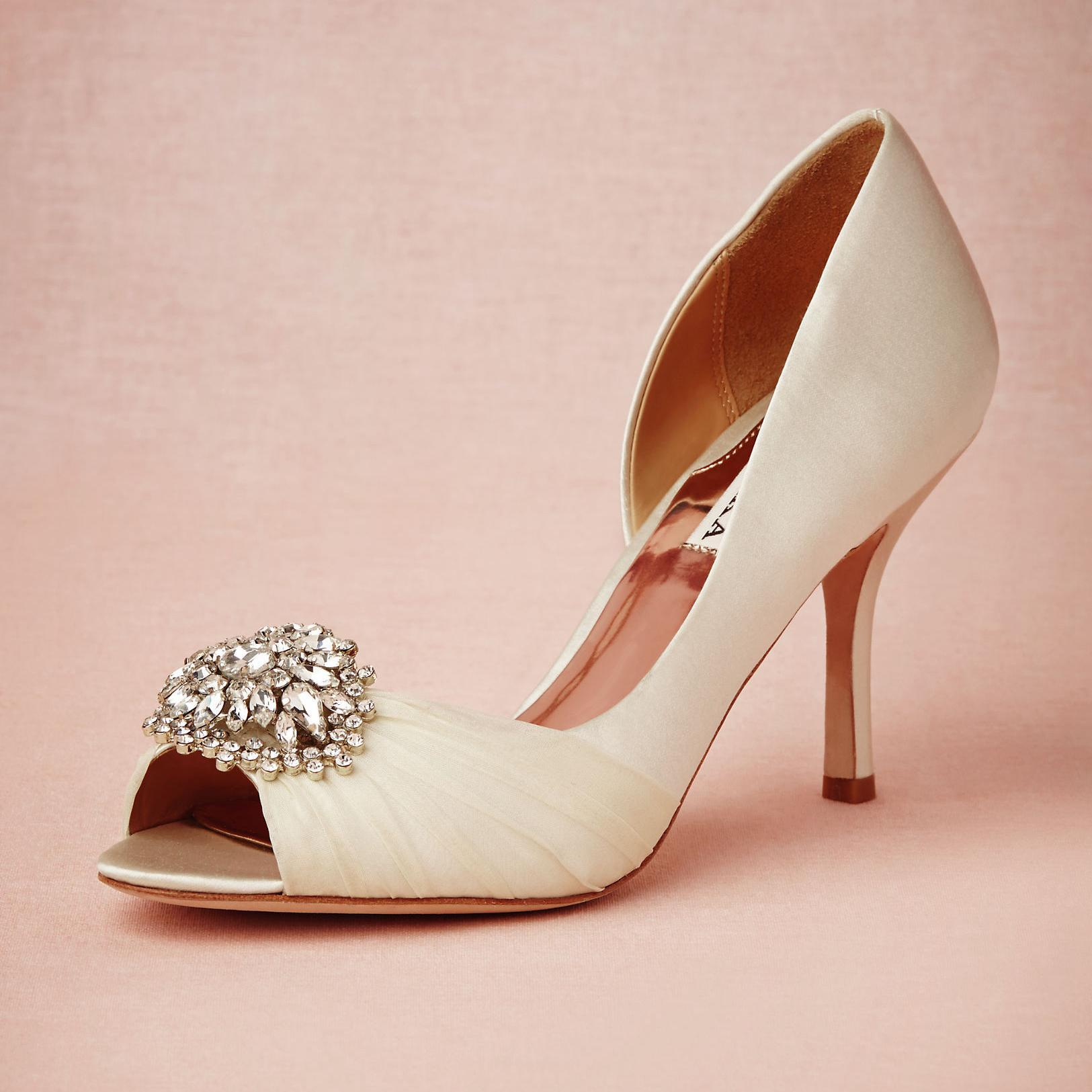 Glamorous Mid Heel Wedding Shoes Heels Custom Pumps Peep Toe ...