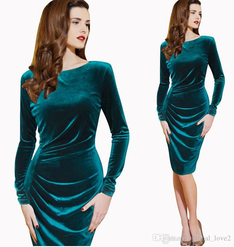 2016 Long Sleeve Formal Dresses Evening Plus Size Velvet Dresses ...