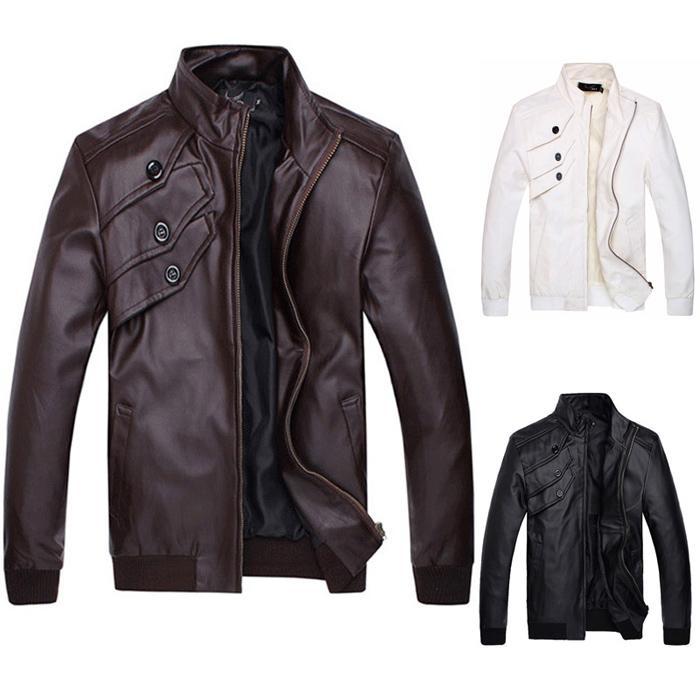 Men Outdoor Motorcycle Polyurethane Leather Jacket Coats Zipper CL7338
