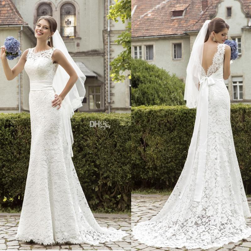Greek sheath lace wedding dresses sheer crew neck deep v for Crew neck wedding dress