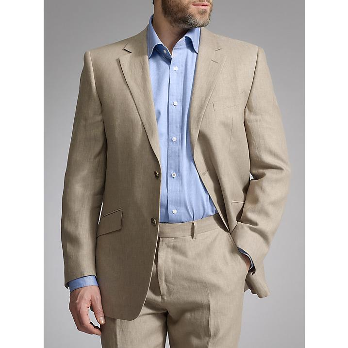Casual Light Brown Linen Suits Summer Notched Lapel Men Wedding