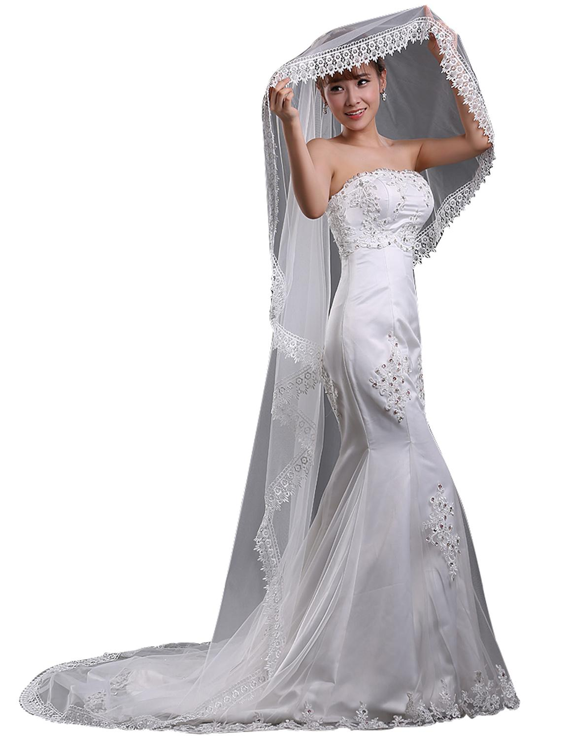2016 In Stock Cheap 3m Length Wedding Veils Ivory One Layer Lace Bridal Veils Appliques Wedding