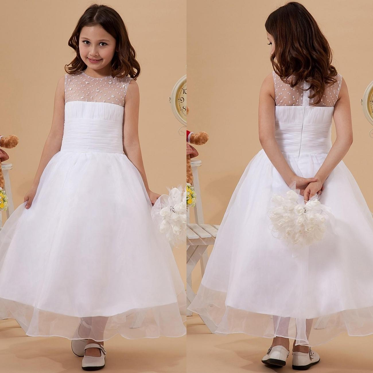 Vintage White Flower Girl Dresses 2015 With Beading Sheer Jewel ...