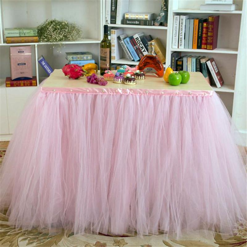 Pink Tulle Table Skirts Tutu Cloth Decorations for Weddings Birthdays ...