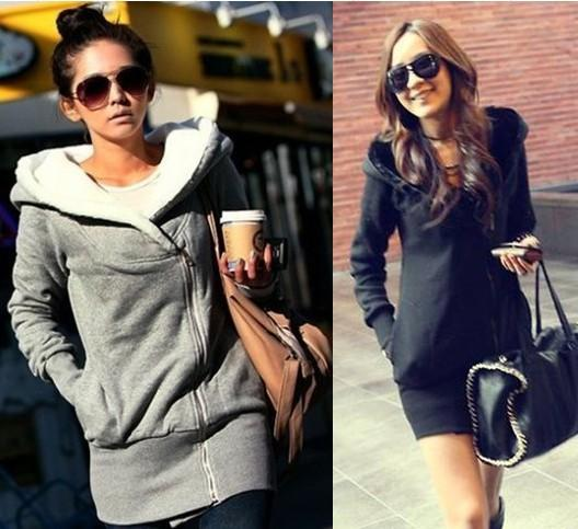 Hot Sale Women's Upper Garments féminin Plush Hat Lapel slant Zip Fleece Hoodies