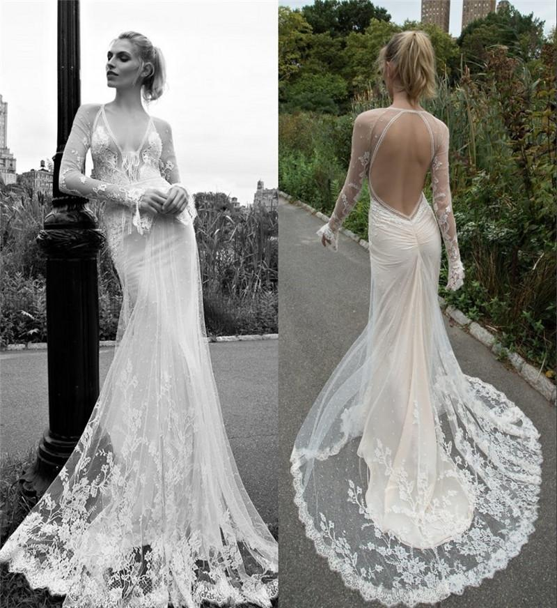 2016 Inbal Dror Vintage Lace Wedding Dresses Mermaid V Neck Long Sleeves Plus Size Beach Boho