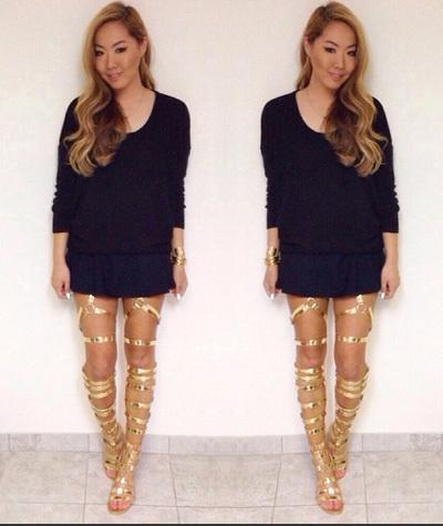 2014 Sexy Open Toe Flats Heel Gladiator Thigh High Boots Sandals ...
