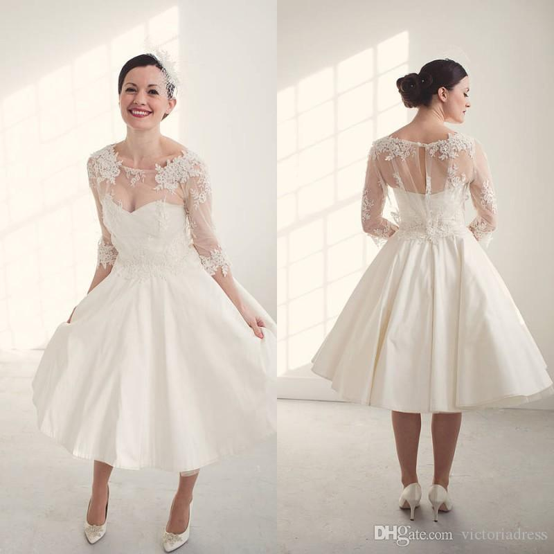 Tea Length Three Quarter Sleeves Vintage Wedding Dresses Illusion Cew Neck Appliqued A Line
