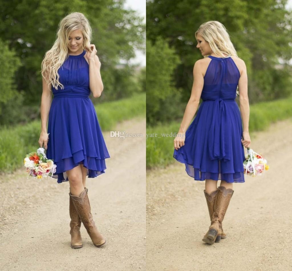 Royal Blue Short Bridesmaid Dresses 2016 Simple Knee
