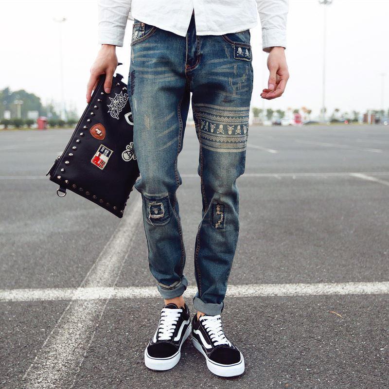 2017 2016 Men'S New Fashion Brand Print Jeans Drawing Rock Jeans ...