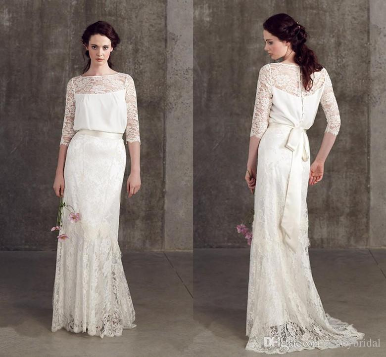 Vintage Wedding Dresses 3 4 Sleeve : Discount vintage wedding dresses lace long sleeve