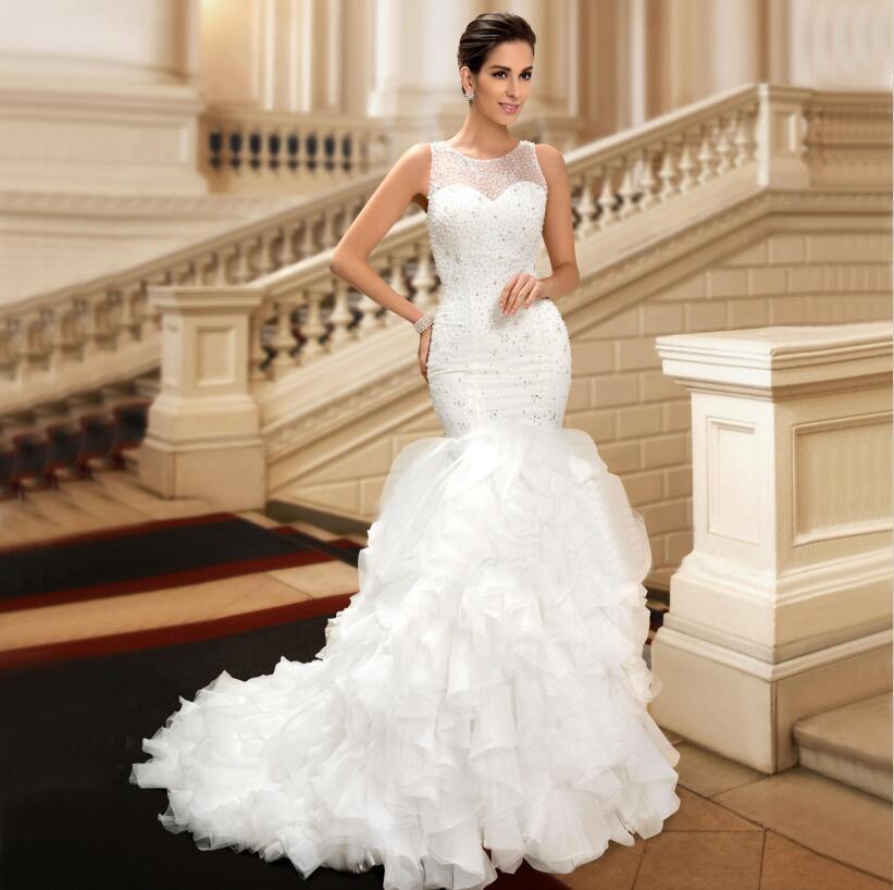 Fishtail Wedding Dress With Ruffles : Charming ruffles fishtail mermaid wedding dresses bridal