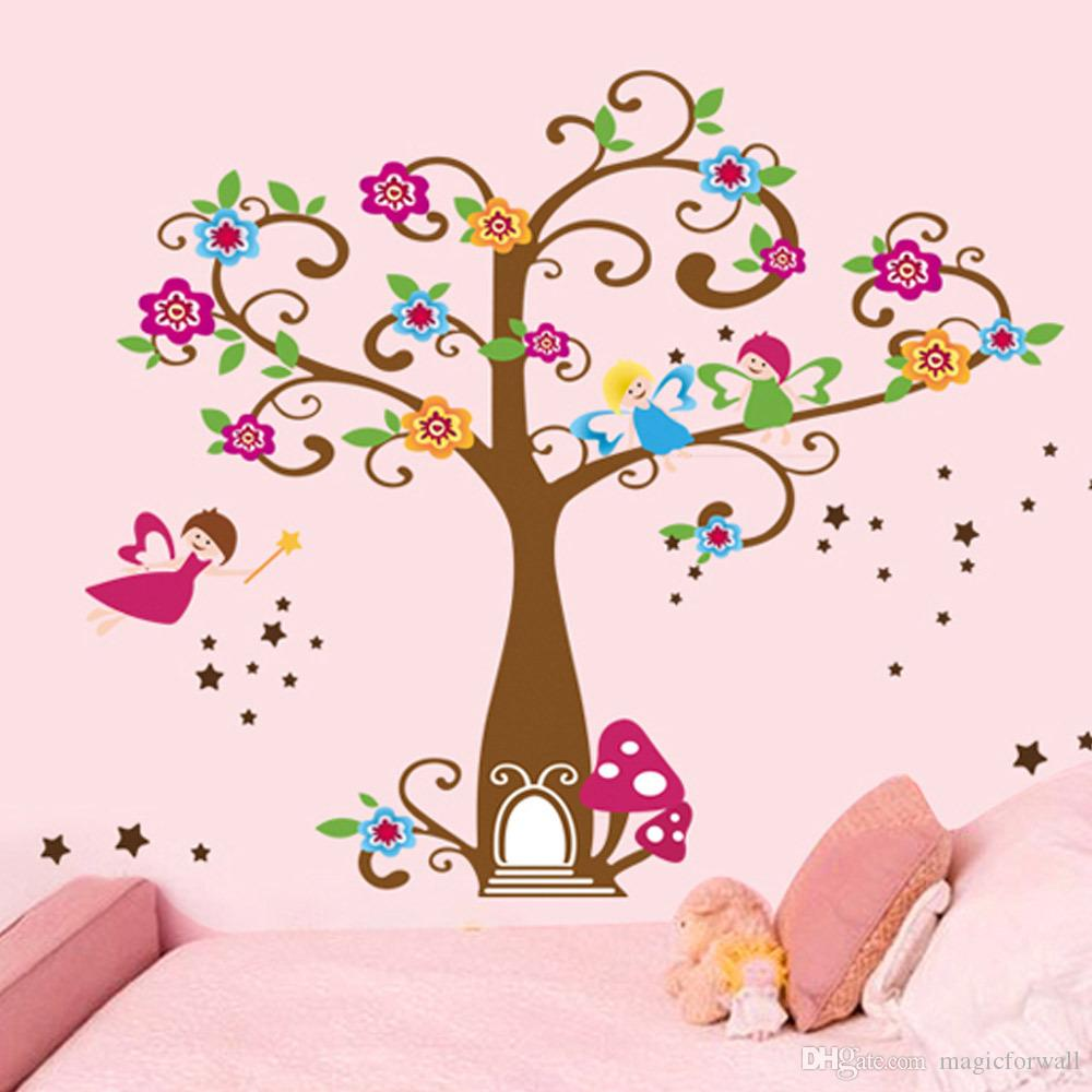 little elf magic tree house wall decal stickers decor for kids room nursery playroom home decorative mural art stickers little elf magic tree house wall