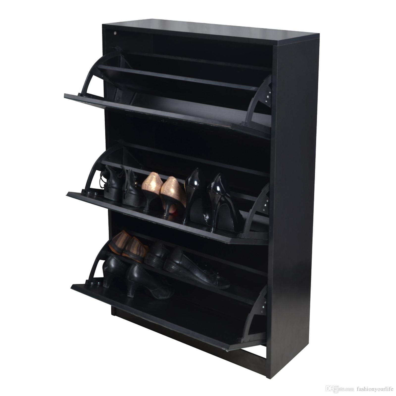 Living Room Furniture Free Shipping Black Wood Shoe Cabinet Shoe Closet Shelf With 3 Mirror Door