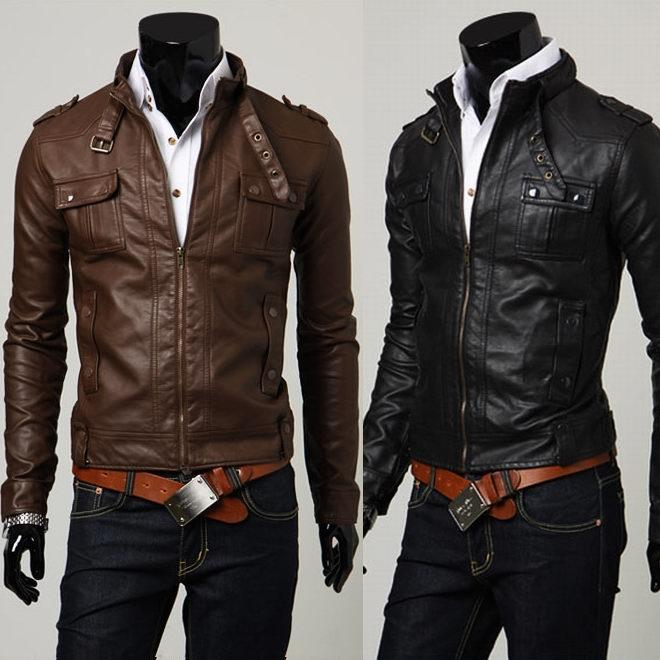 Men Cool Leather Jackets Slim Fit Stylish Washing PU Leather ...