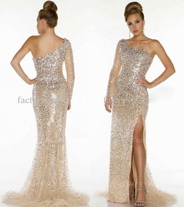 2016 Sexy Pageant Dresses One Shoulder Long Sleeve Champagne ...