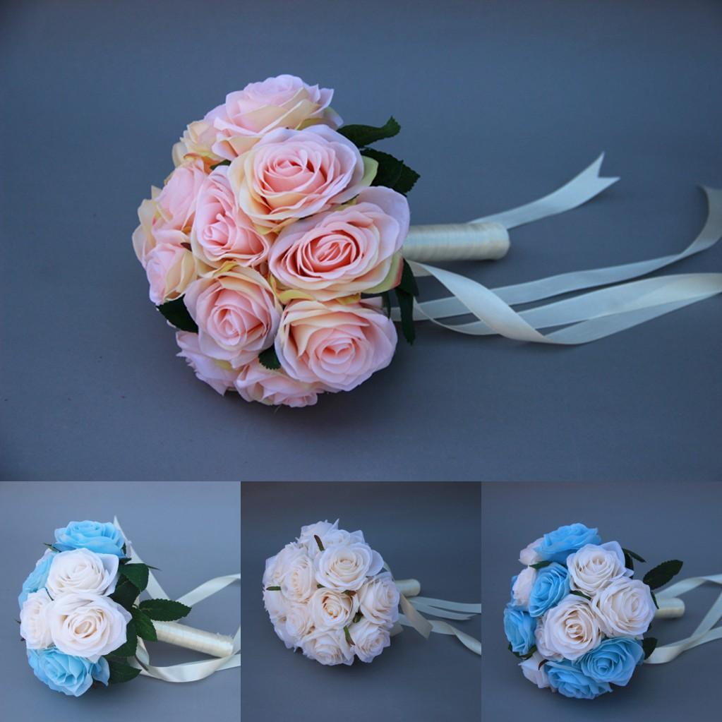 silk flower bouquet pink white blue rose wedding flowers bouquets for brides bridesmaid 2015 in. Black Bedroom Furniture Sets. Home Design Ideas