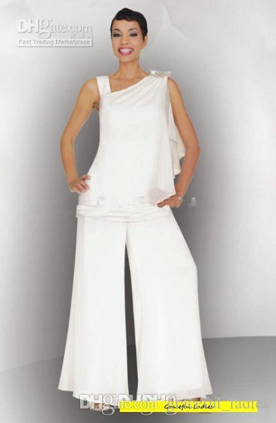 White Mother of the Bride Pant Suits Chiffon Plus Size Pant Suit ...