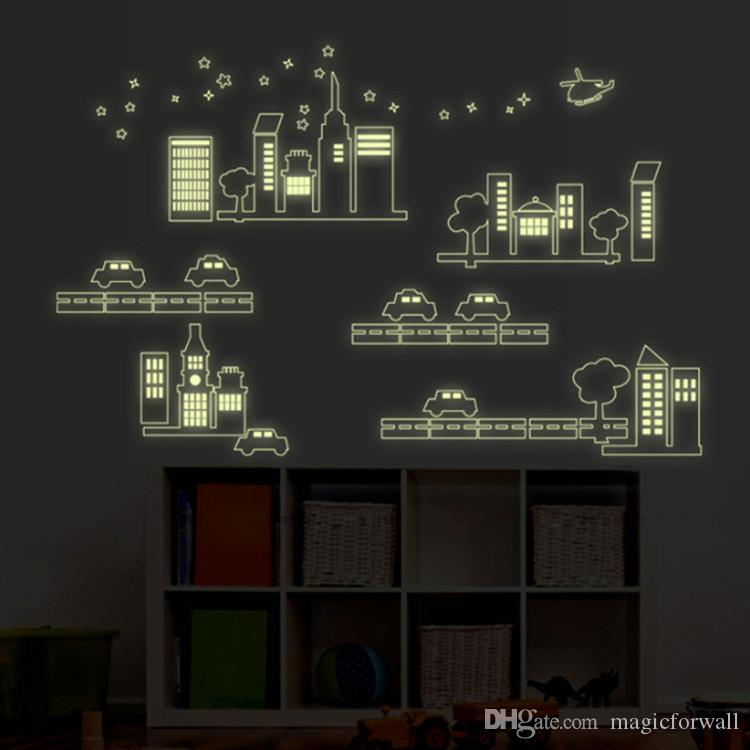 Glow In The Dark Car And Building City Construction PVC Wall Stickers Decal  Luminous Car Road Tree Building Wall Art Murals Decor Car And Building Wall  ...