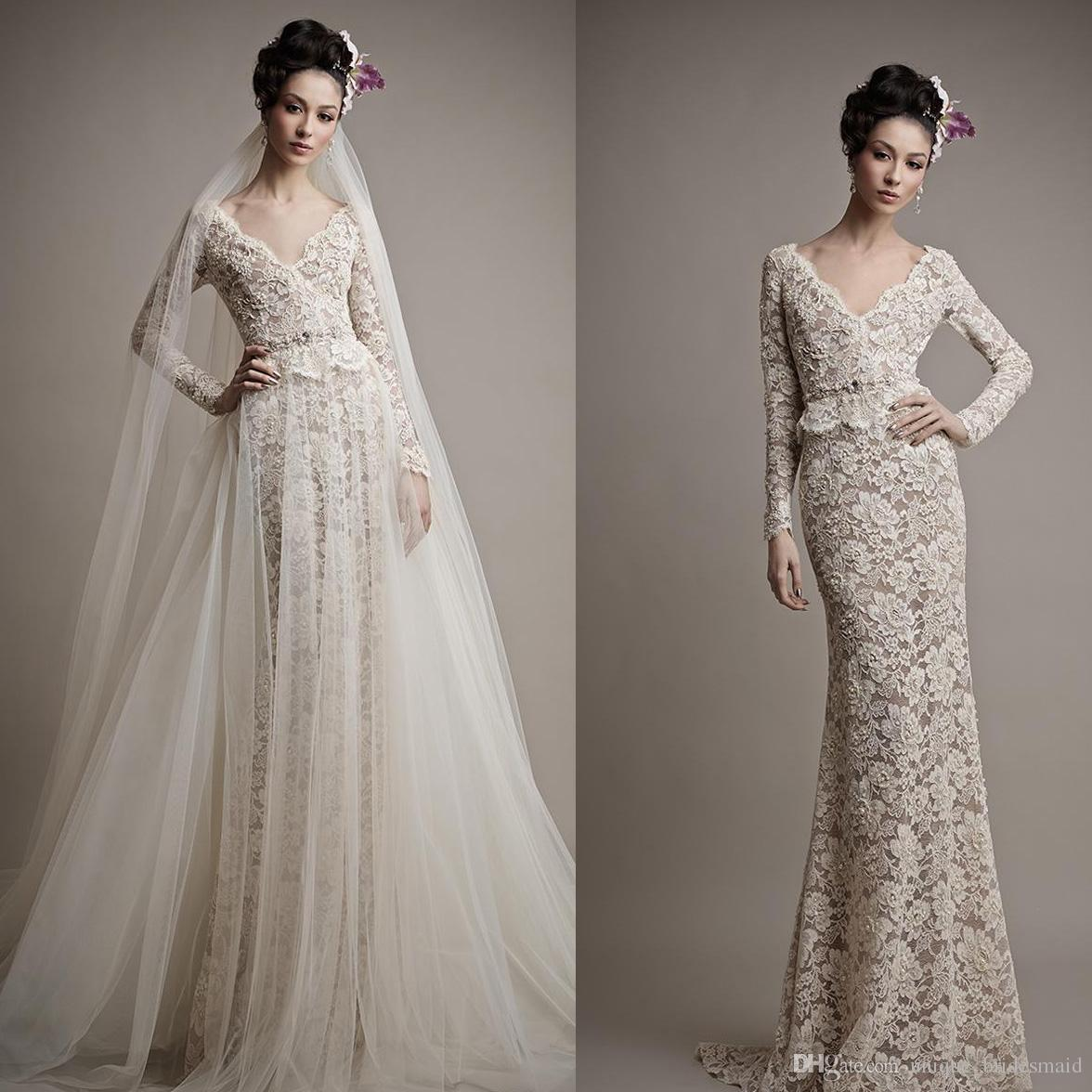 Two Pieces Lace Wedding Dresses 2016 Mermaid Wedding Gowns