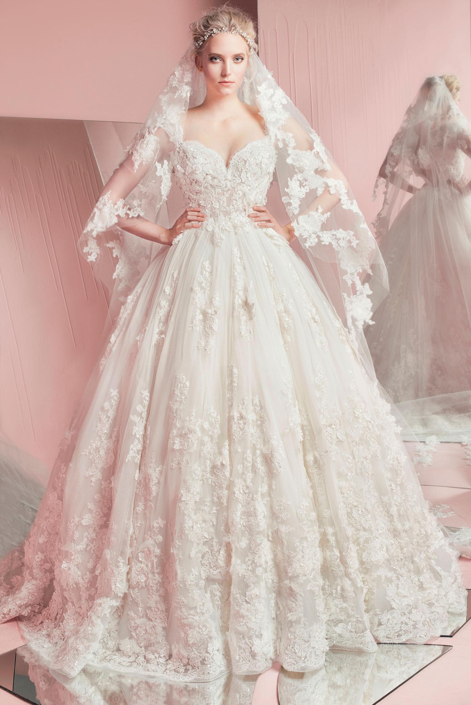 Elegant Lace Ball Gown Wedding Dresses Zuhair Murad 2016 Spring ...