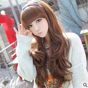 Super New Girls Long Curly Hair Wig Bangs Long Straight Wig Ladies Long Hairstyle Inspiration Daily Dogsangcom