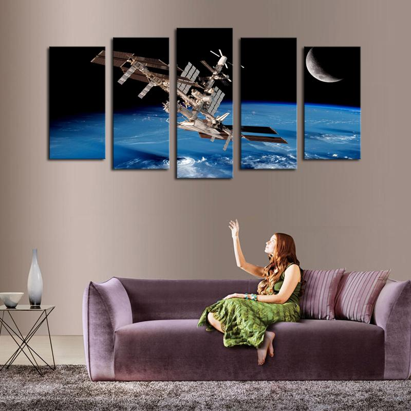 2017 high quality canvas art 5 panel outer space satellite for Quality home decor