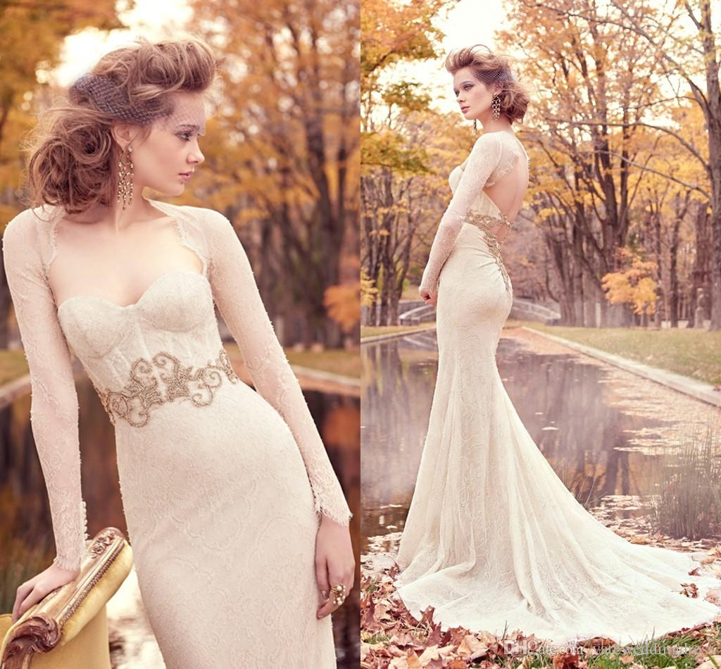 ivory wedding dresses ivory wedding dresses New Designer Ivory Wedding Dresses With Bolero Long Sleeve Sweetheart Low Back Tulle Lace Bridal Gown Appliques Gold Sash Wedding Dress Designer Mermaid