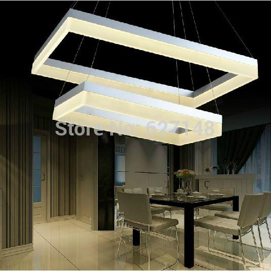 Modern square 2 layer acrylic led chandelier lamp home for Hangelampe wohnzimmer