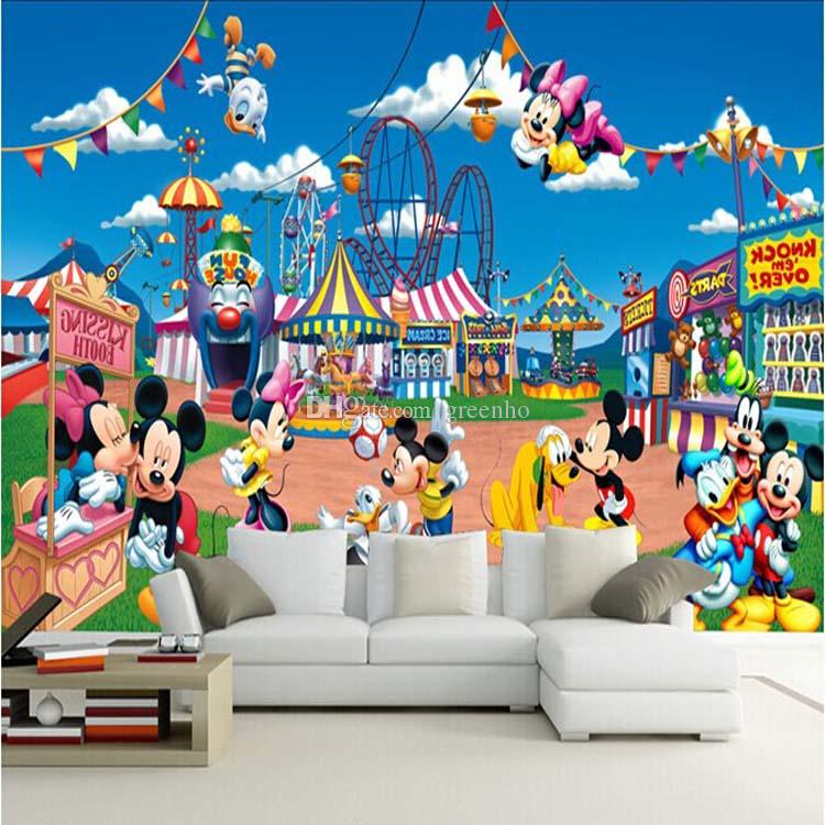 Cartoon Mickey Mouse Wallpaper Cute Mural Photo Wallpaper Giant Wall Decor  Poster Childrenu0027s Playground Living Bedroom Murals New Decoration Cartoon  ... Part 53