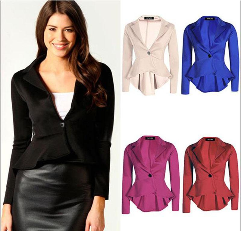 Women's Double Notch Lapel Sharp Shoulder Pad Asymmetry Blazer ...