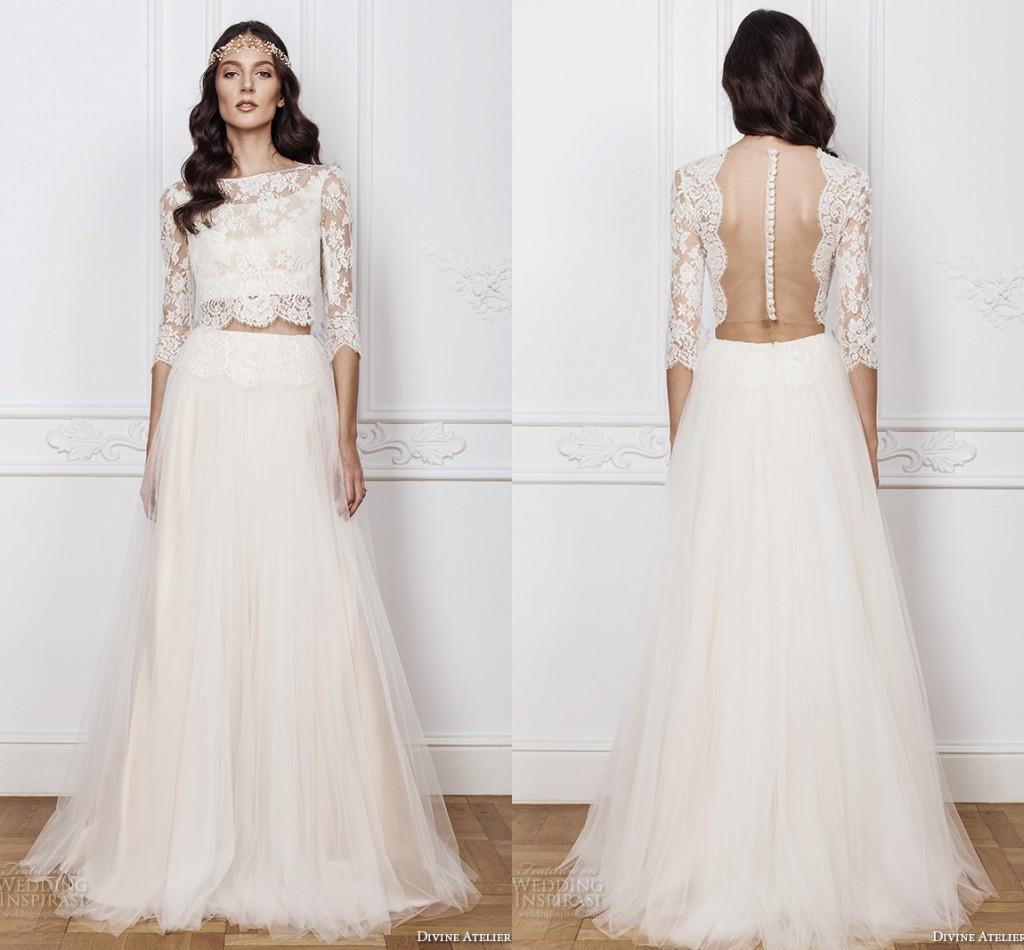 Bateau neck 3 4 long sleeve boho wedding dresses two for Cheap 2 piece wedding dresses