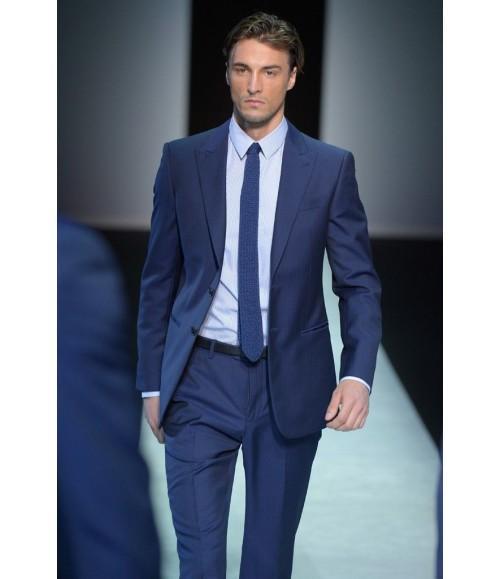 Semi Formal Evening Wear Tuxedos With Two Button Blue Notch Lapel Satin Edge Peak Lapel Best Men ...
