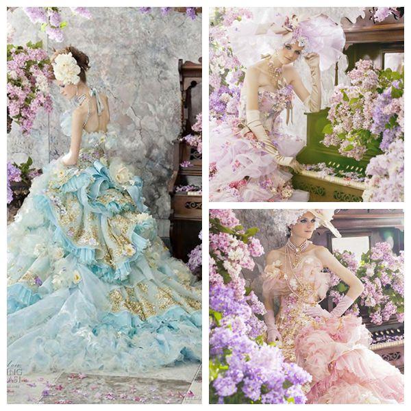 Stella De Libero Cinderella Wedding Dresses 2015 Light Green Pink Appliques Strapless Ruffle