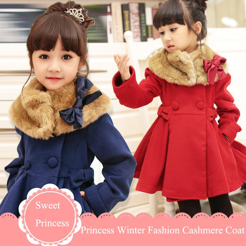Wool Coat Girls Red Winter Fur Coats Cashmere Wool Dress Coat