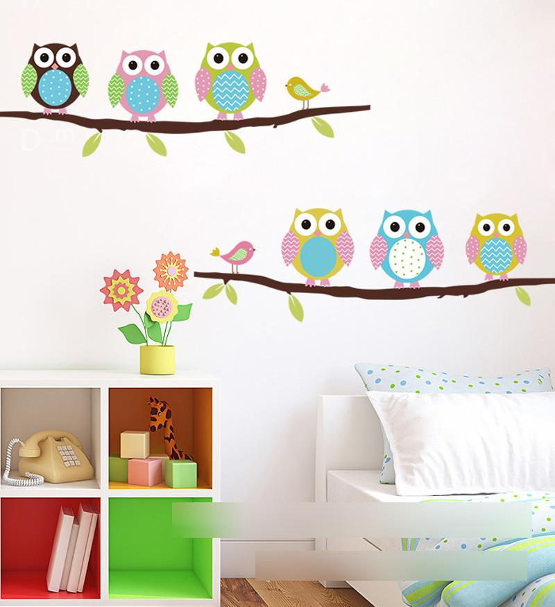 wall stickers home dcor cute owl wall decals childrens room decoration cartoon stickers removable wall stickers ws4042 - Home Decor Decals