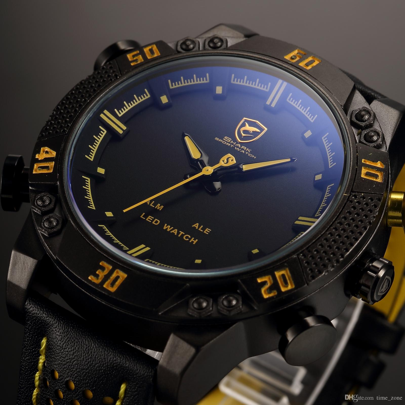 Wrist watches brands for mens - Kitefin Shark Brand Led Men Digital Wristwatch Black Yellow Alarm Leather Band Military Relogio Masculino Wrist Quartz Sport Watch Sh263