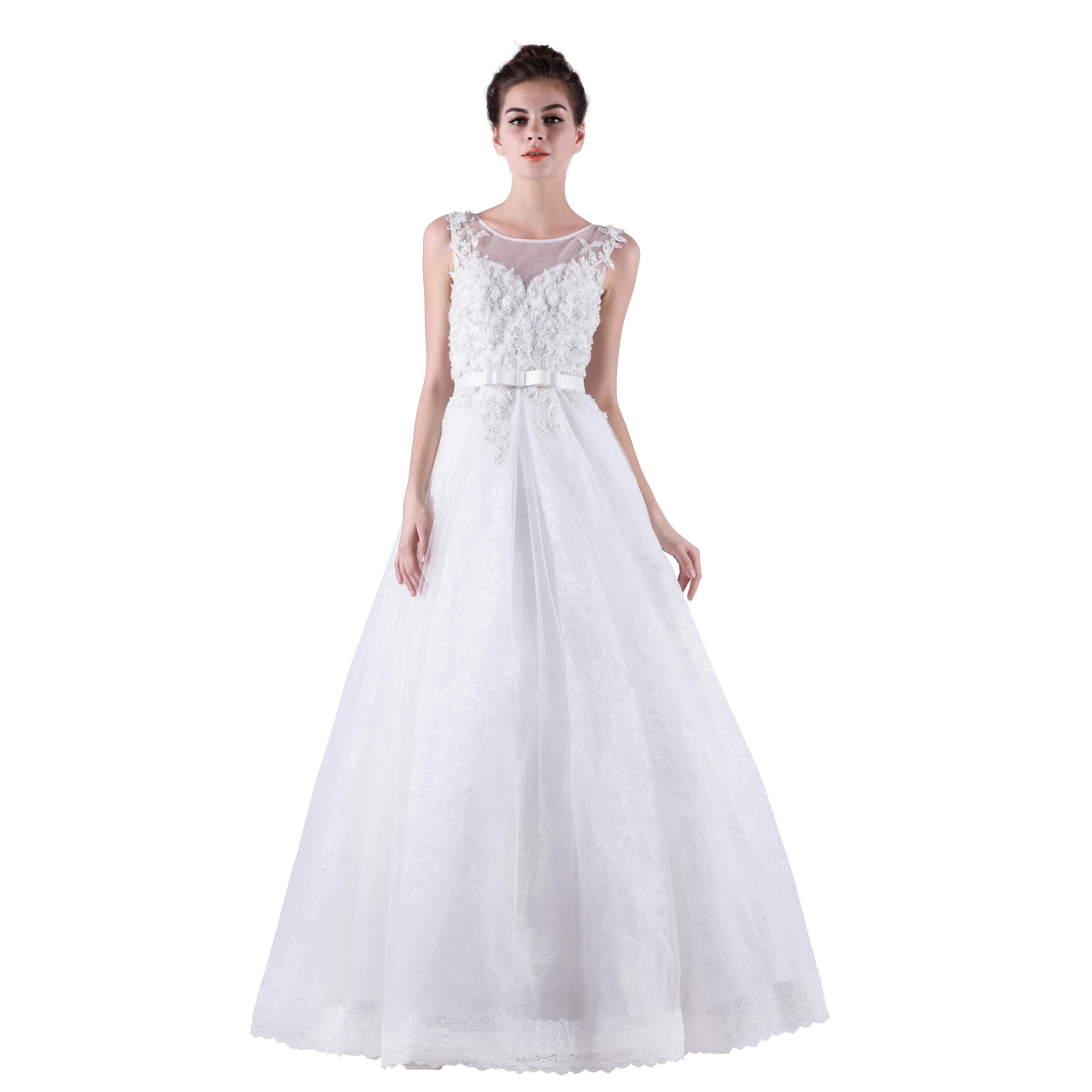 Long white women wedding dresses 2015 lace with o neck for Cheap wedding dresses made in china