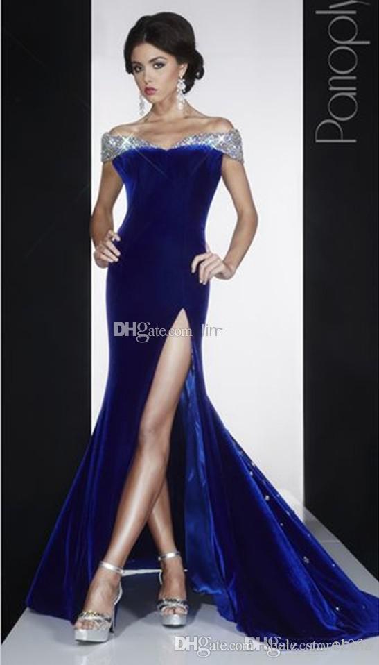 Оптом - Темно-синий бархат оболочка короткие выпускные платья 2015 милая спинки этаж Длина блестками Кристалл вечерние платья Off плечо бисера