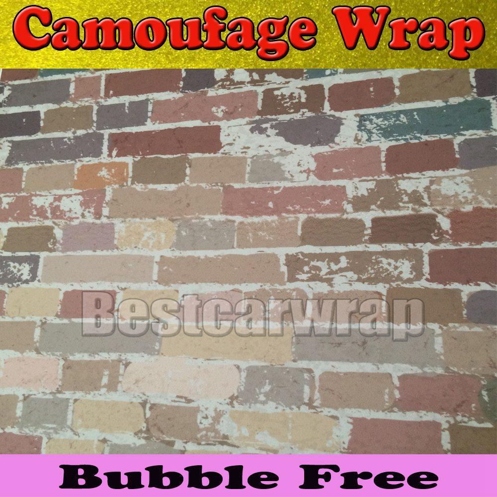 Graffiti wall vinyl - Brick Wall Camo Vinyl Camoufalge Car Wrap Illest Stickerbomb Graffiti Cartoon Vinyl Wrap Sticker Decal Film Sheet Air Bubble Free