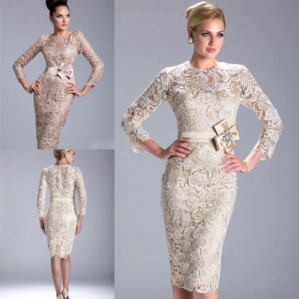 Sexy 2016 sheath mother suit 39 s dresses long sleeves lace for Von maur wedding dresses