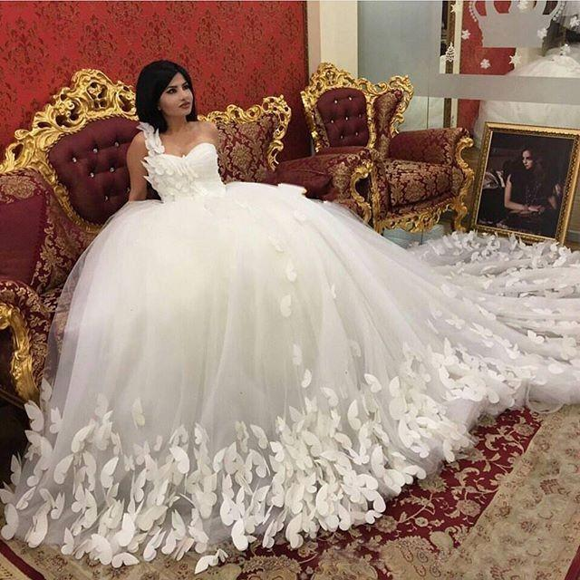 Custom 3d butterfly wedding dresses one shoulder ball Wedding dress butterfly design