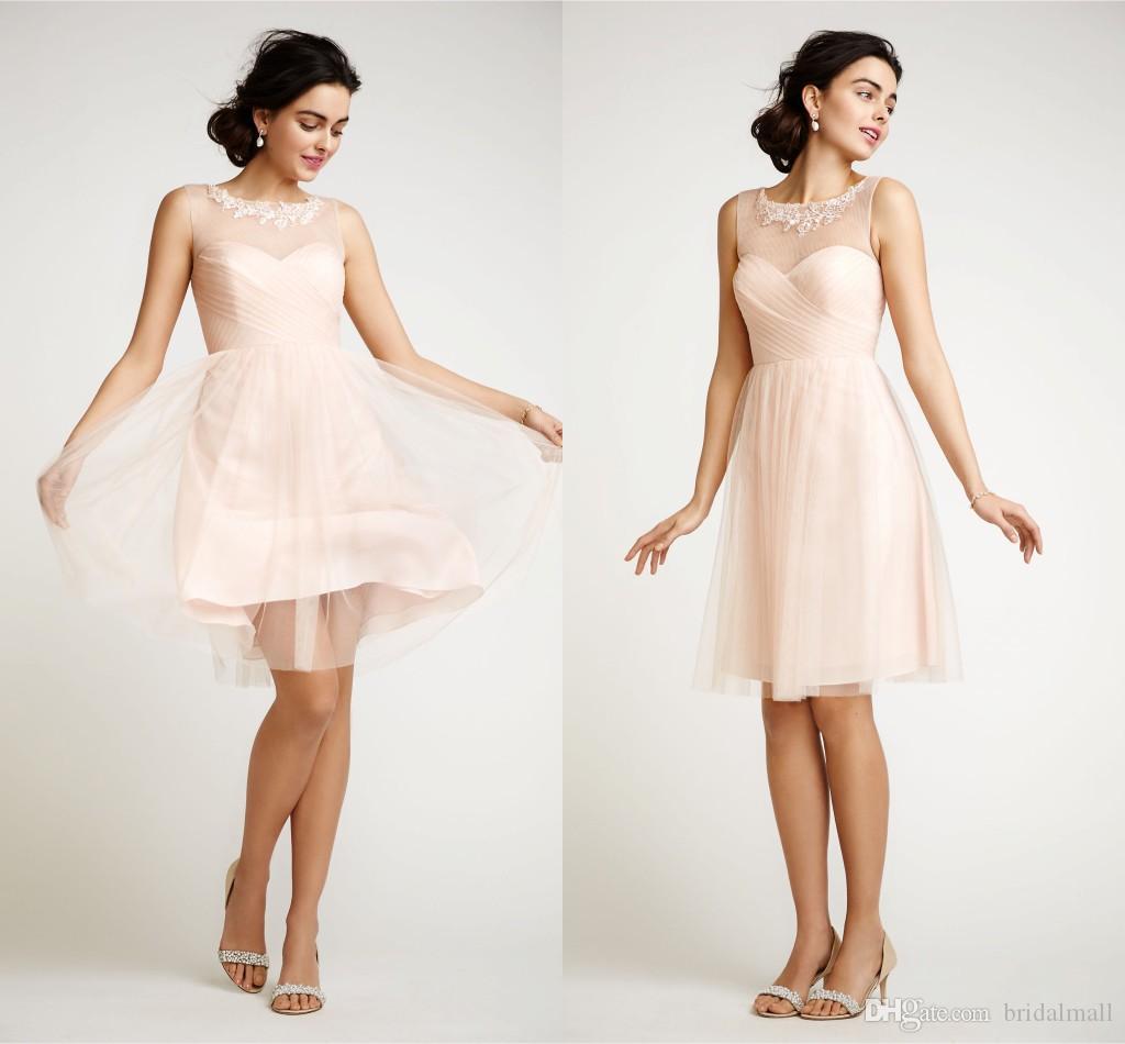 Elegant Knee length Blush Bridesmaid Dresses 2015 Hot