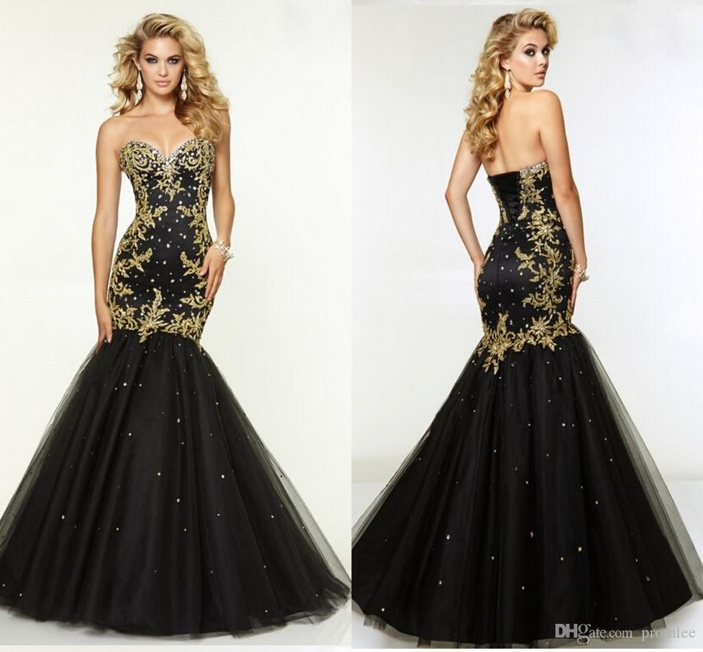 Sexy Gold Appliques Mermaid Black Prom Dresses Party Evening ...