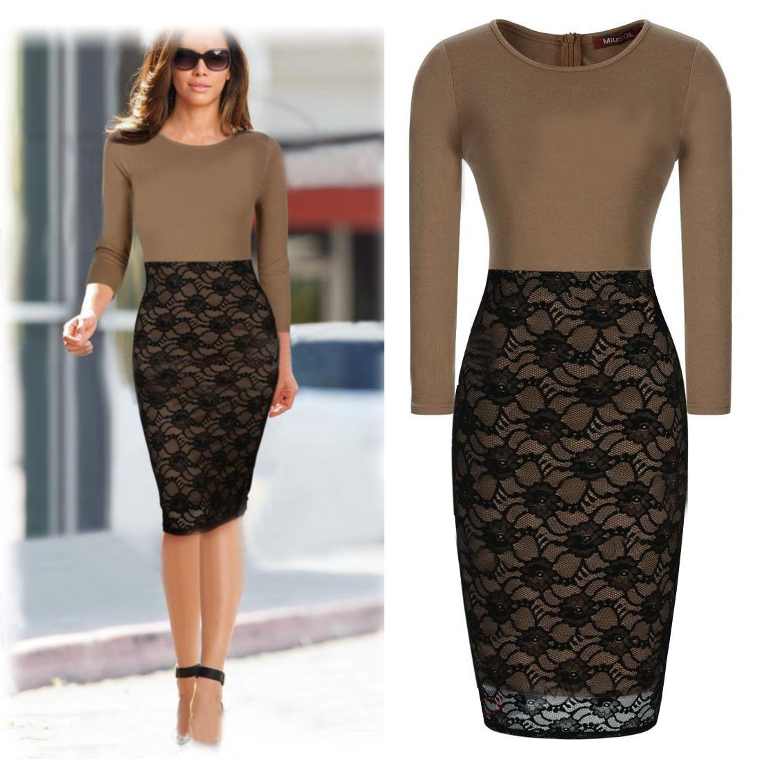Dress women work wear lace office dress long sleeve dresses dk3018c