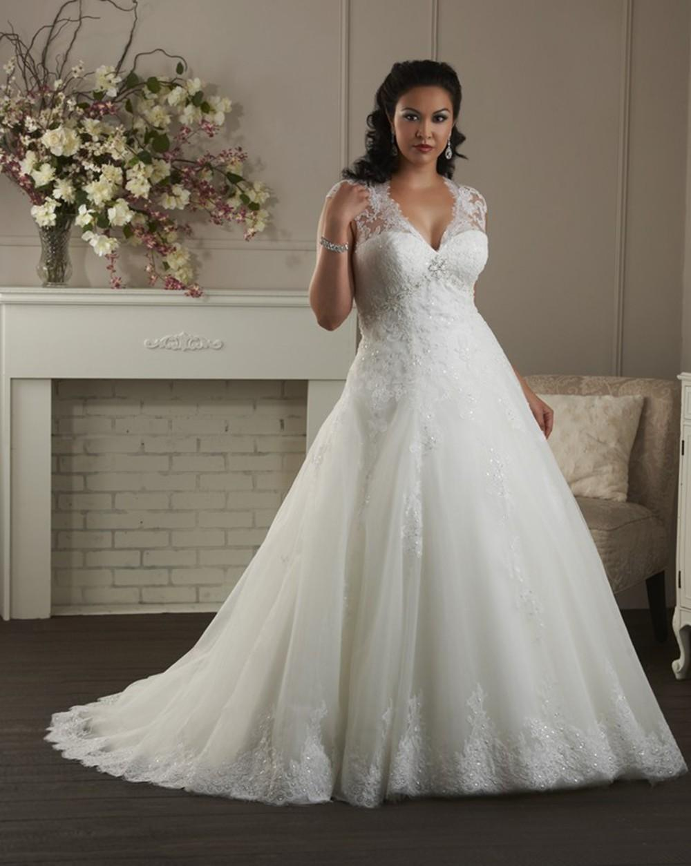 Discount 2015 plus size wedding dresses empire waist v for Empire waist plus size wedding dress
