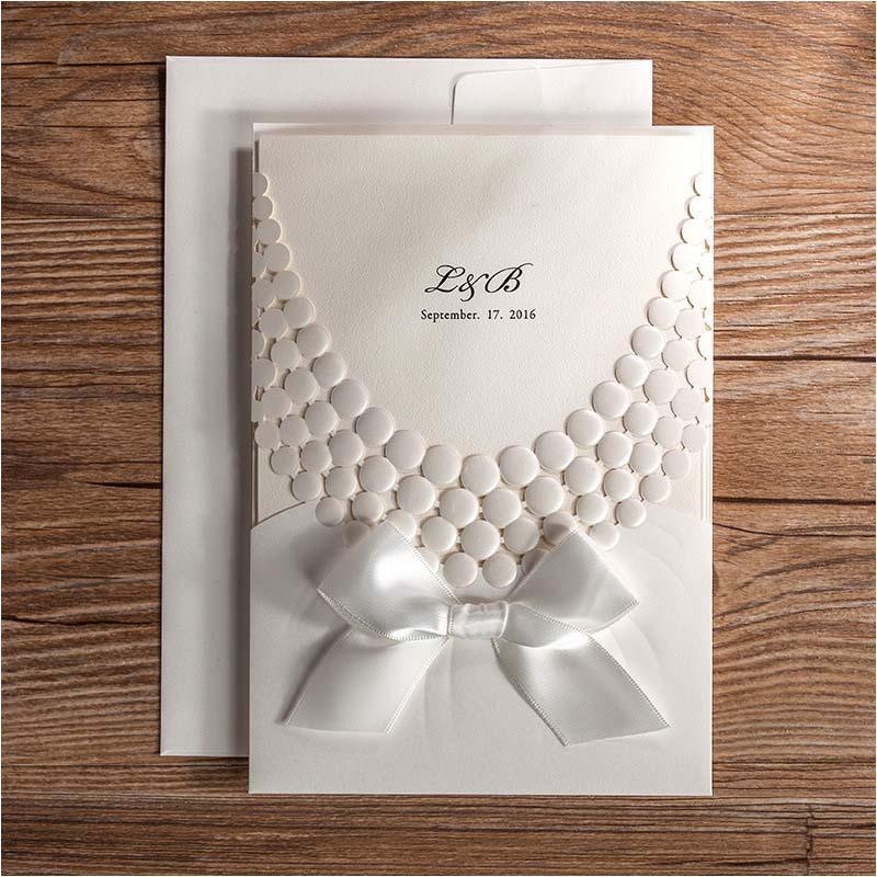 White Pocket Wedding Invitations Custom Bowknot Invitation Cards – Pocket Cards for Invitations