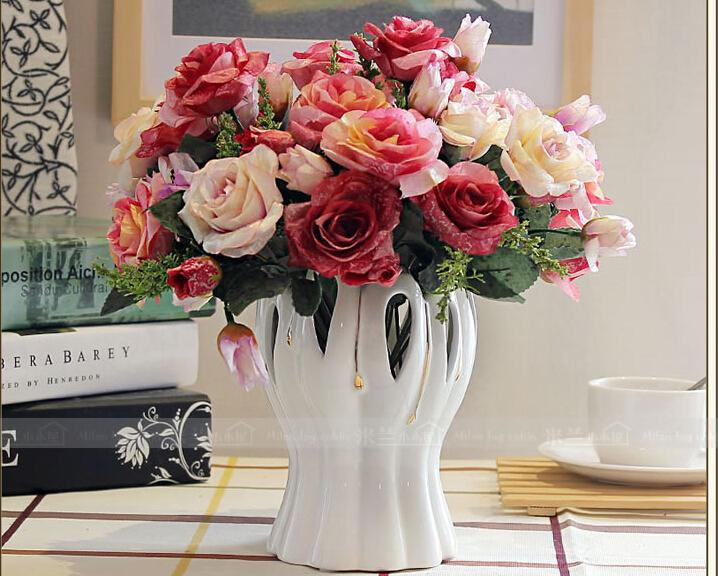 Living Room Table Flower Arrangement Floral European Style Decorative Ceramic Vase Black Vases