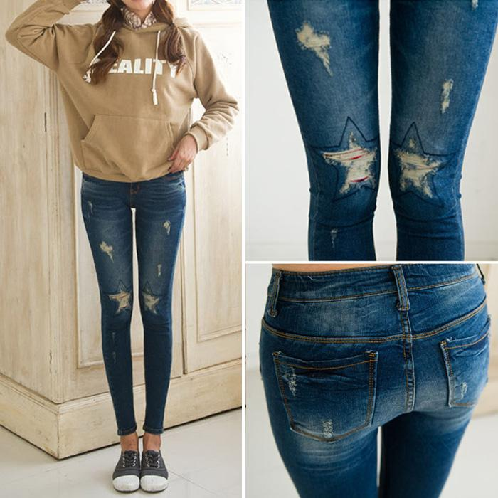 2015 Slim Star Ripped Jeans for Women Skinny Pencil Denim Jeans