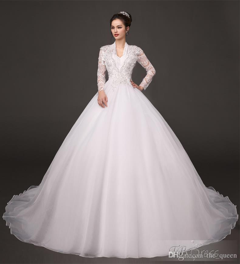 2015 Victorian Style V Neck Long Sleeve Poet Ball Gown